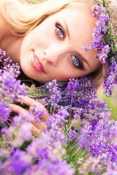 girl on lavender field