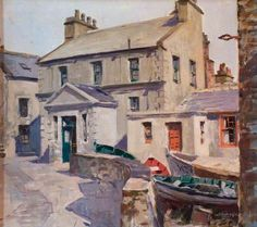 Cursiter, Stanley, (1887-1976), Boats in the Street, Stromness, Orkney, 1952, Oil