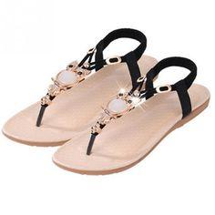 9e1c8880f26304 Women s Flat Thong Beaded Slip on Angle Wrap Sandals  sandals Beaded Sandals