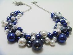 navy wedding necklace for bridesmaids