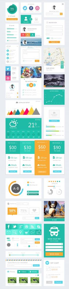 This FLAT UI KIT is created according to the recent trends in design, using beautiful colours and there are many useful elements for web sites and mobile apps. Ui Design Inspiration, Design Blog, Design Ideas, Dashboard Design, Ui Ux Design, Wireframe Design, Ui Kit, Apps, Design Thinking