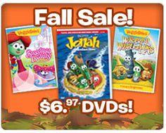 good deal, people!  VeggieTales Fall Sale! $6.97 DVDs!