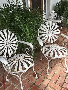 pair francois carre sunburst spring octagon garden patio arm chairs1930svintage accessoriesfor lessyard