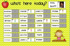 Interactive attendance with student photos- for the smart board