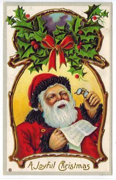 Sweet Vintage Christmas Postcard Santa Laughs Reading Child's Letter 1913 Emb | eBay