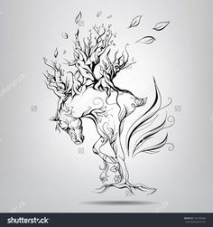 stock-vector-a-horse-with-a-mane-of-branches-vector-illustration-161299646.jpg (1500×1600)