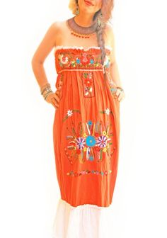 Fuego ruffled embroidered orange bohemian chic Mexican Maxi dress
