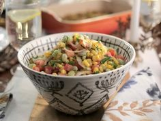 Get Succotash Salad Recipe from Food Network Succotash Salad Recipe, Salad Recipes, Veggie Dishes, Vegetable Recipes, Best Thanksgiving Recipes, Thanksgiving Salad, Thanksgiving Side Dishes, Valerie's Home Cooking Recipes, Cooking Food