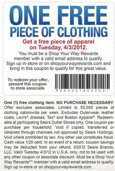 Today grab any piece of clothing FREE at Sears Outlet