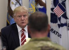 President Donald Trump has lunch with troops while visiting U.S. Central Command and U.S. Special Operations Command at MacDill Air Force Base, Fla., Monday, Feb. 6, 2017. Trump, who spent the weekend at Mar-a-Lago, stopped for a visit to the headquarters before returning to Washington. (AP Photo/Susan Walsh)