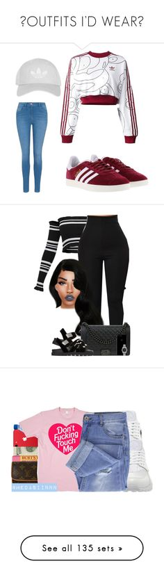 """✨OUTFITS I'D WEAR✨"" by princessaesthetic ❤ liked on Polyvore featuring adidas Originals, adidas, George, Topshop, Chanel, Giuseppe Zanotti, Rolex, Lime Crime, Burt's Bees and Louis Vuitton"