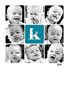 I like the idea of multiple expressions, could be adapted to show a new pic for every month of baby's first year.