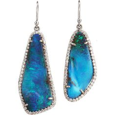 boulder opal & diamond earrings