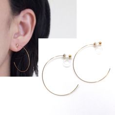 Gold Invisible Clip On Hoop Earrings Non Pierced Look Comfortable