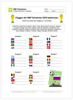 NEU: Ein kostenloses Arbeitsblatt zur Fußball WM 2018 in Russland sollen die Schüler die Flaggen der Teilnehmer erkennen und diese aufschreiben.