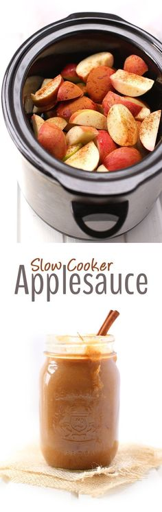 All you need are two ingredients (apples and cinnamon) and your slow cooker to make this super easy and sugar-free slow cooker applesauce recipe! Perfect for Fall snacking or to use in baked goods! (Apple Recipes Healthy)