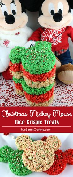 Christmas Mickey Mouse Rice Krispie Treats- These colorful and festive Christmas…