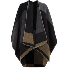 Dark Grey Contrast Stitch Stripe Blanket Wrap ($22) ❤ liked on Polyvore featuring jackets