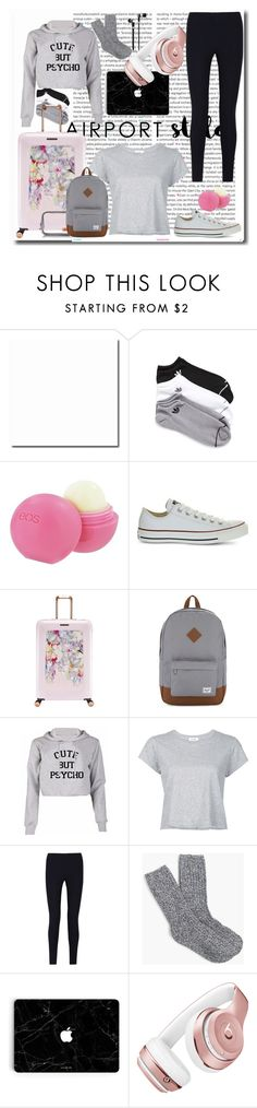 """""""Airport Style"""" by jacinta203 ❤ liked on Polyvore featuring Oris, adidas, Eos, Converse, Ted Baker, Herschel Supply Co., RE/DONE, Joseph, J.Crew and Beats by Dr. Dre"""