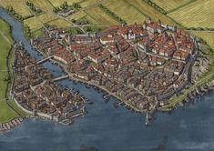 Amazing city map which features a vibrant town,but also a harbor with surrounding fields. Great example of an urban fantasy map by jonpintar Fantasy City Map, Fantasy World Map, Fantasy Town, Fantasy Castle, Fantasy Places, Medieval Fantasy, Fantasy Concept Art, Fantasy Artwork, Plan Ville