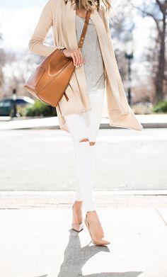 white ripped jeans, nude pumps, Celine bucket bag, neutrals, hello fashion http://FashionCognoscente.blogspot.com