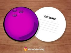 Einladung Kindergeburtstag Bowling (Kegeln): kostenlose Vorlagen der Einladungskarten zum Ausdrucken