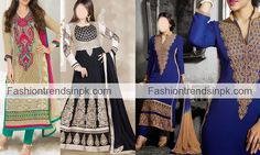 Trendy Georgette Salwar Suit with New Designs. Long Shirt Fabric Churidar Kameez Frock Neck Design. Facebook and Pinterest Photo Fashion.