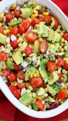 Traditional Corn, Avocado, and Tomato Salad, ....