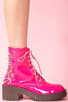 8th Street Spike Boot in Pink Patent