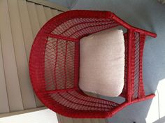 Porch chairs - After (regal red spray painted wicker)