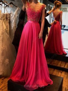 Lace Prom Dress #red #prom #millybridal
