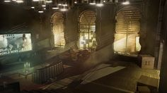 DEUS EX Human Revolution cyberpunk action role playing sci-fi futuristic Environment Concept Art, Environment Design, Matte Painting, Bioshock, Deus Ex Human Revolution, Art Noir, Interior Concept, Interior Design, Chula