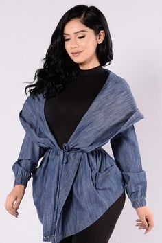 Hooded Denim Jacket - Medium Stone