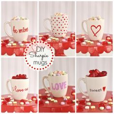 Tazas pintadas con marcador para regalar en San Valentin