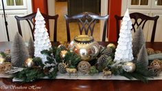 World Market white and bottle brush trees and painted craft store reindeer from Christmas Home Tour {Downstairs}