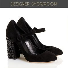 Fun meets fashion with these Mary Jane style suede pumps. These shoes get amped up with a jeweled suede chunky heel, round toe, and buckle embellishment. Cushioned insole, leather interior and sole.