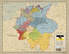 Saxony unites Germany by on DeviantArt Old World Maps, Old Maps, Vintage World Maps, Alternate Worlds, Alternate History, German Confederation, Map Symbols, Imaginary Maps, European Map