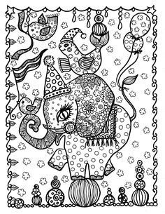 Elephant Coloring Page Animal Pages Adult Sheets Books Colouring Colour Doodles Doodle