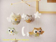 Baby Crib Mobile,Owl Mobile,Nursery Mobile,Baby Room Decor, Green Nursery Decor…