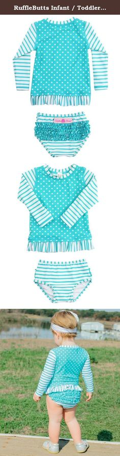 b576e2748b602 RuffleButts Infant / Toddler Girls Aqua Striped Polka LS Rash Guard Bikini  - Aqua/White