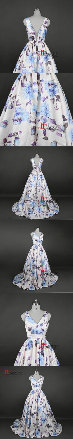 2017 New Arrival Amazing Charming Elegant Print Blue Rose Flowers Sexy V-neck Long Elegant Evening Prom Dresses LIYATT