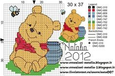 punto croce winnie the pooh Xmas Cross Stitch, Cross Stitch For Kids, Beaded Cross Stitch, Cross Stitch Baby, Cross Stitch Charts, Cross Stitching, Cross Stitch Embroidery, Disney Cross Stitch Patterns, Cross Stitch Designs
