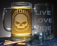 HARLEY DAVIDSON Motorcycle SKULL Etched Glass Beer by LoveEtching, $20.00