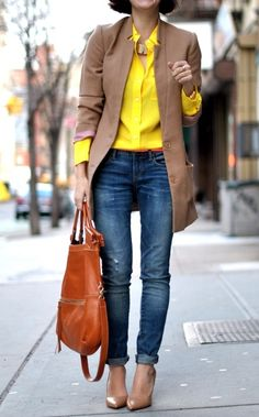 Camel blazer and a canary yellow blouse ::::: ❥