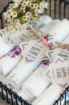 'Happy Tears' handkerchiefs for the wedding day