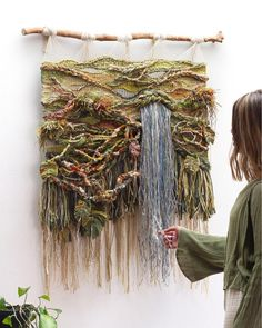 Crossing Threads first commission for the year Titled 'JANGALA' this handwoven piece represents the places… Art Fibres Textiles, Textile Fiber Art, Weaving Textiles, Weaving Art, Weaving Patterns, Macrame Patterns, Tapestry Weaving, Loom Weaving, Art Macramé