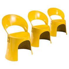 Nanna Ditzel for Oddense Maskinsnedkeri, A Rare Set of 3 Fiberglass Chairs