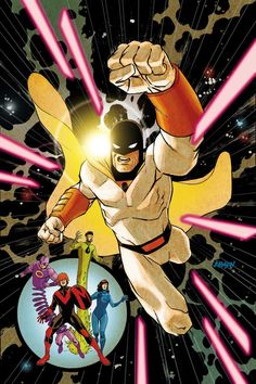 DC Comics Future Quest Dave Johnson Variant Cover *Description: The time of reckoning is here—Omnikron, the interstellar destroyer, has come to Ea Cartoon Books, Comic Books Art, Desenhos Hanna Barbera, Future Quest, Looney Tunes Cartoons, 70s Cartoons, Alternative Comics, Space Ghost, Old School Cartoons