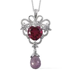 SUGAR by Gay Isber Rubelite Quartz, Rose De France Amethyst, White Topaz Pendant With Chain (20 in) in Platinum Overlay Sterling Silver Nickel Free TGW 21.10 Cts.