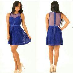 NWT Royal Blue Lace Dress Description in photo! Medium, with tags never worn. shophopes.com  Dresses